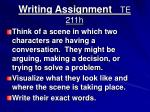 writing assignment te 211h