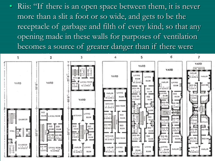 "Riis: ""If there is an open space between them, it is never more than a slit a foot or so wide, and gets to be the receptacle of garbage and filth of every kind; so that any opening made in these walls for purposes of ventilation becomes a source of greater danger than if there were none…The sun cannot reach them. They are damp and dark, and the tenants, who are always the poorest and most crowded, live 'as in a cage open only toward the front.'"""