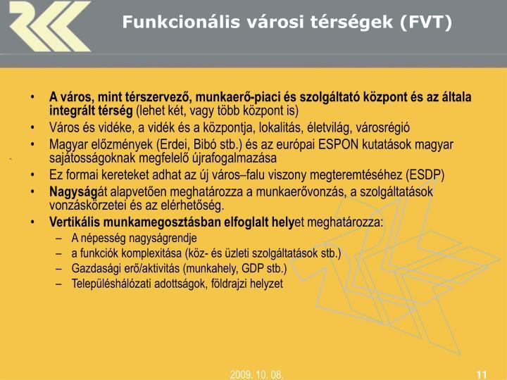 Funkcionális városi térségek (FVT)