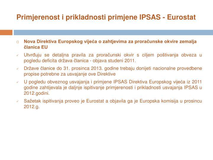 Primjerenost i prikladnosti primjene IPSAS - Eurostat