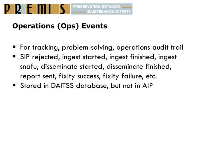 Operations (Ops) Events