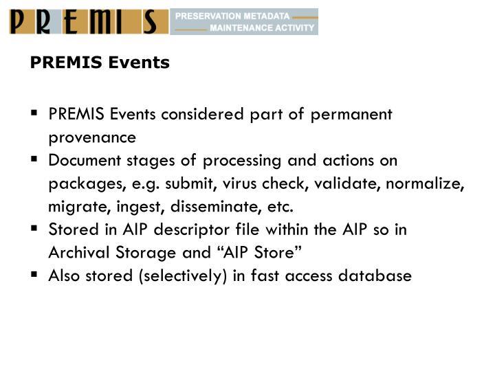 PREMIS Events