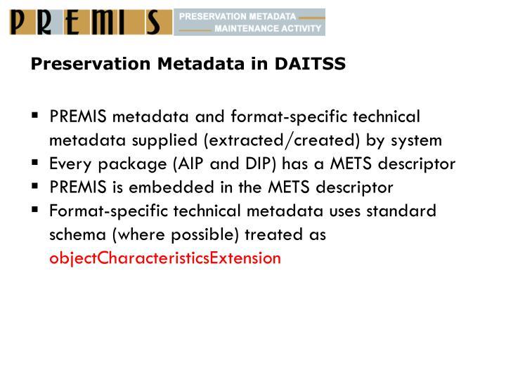 Preservation metadata in daitss
