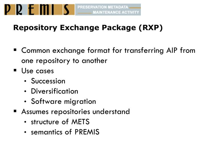 Repository Exchange Package (RXP)