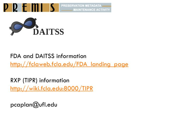 FDA and DAITSS information