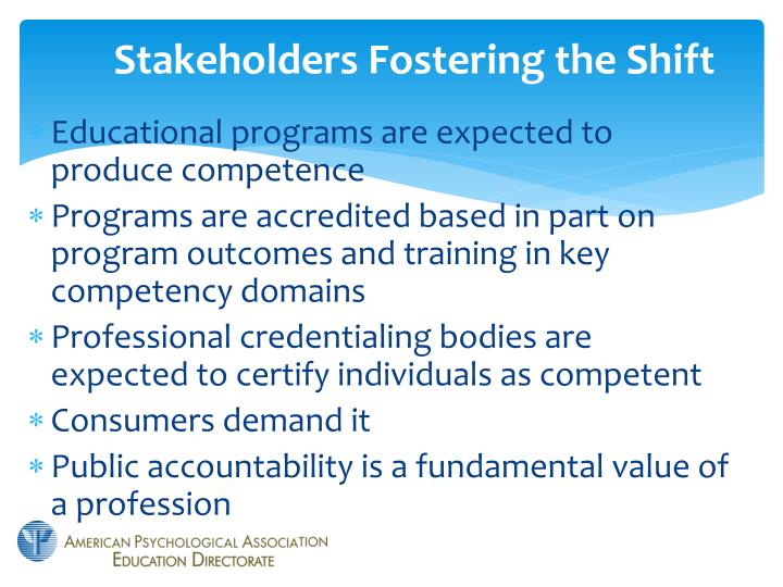 Stakeholders fostering the shift