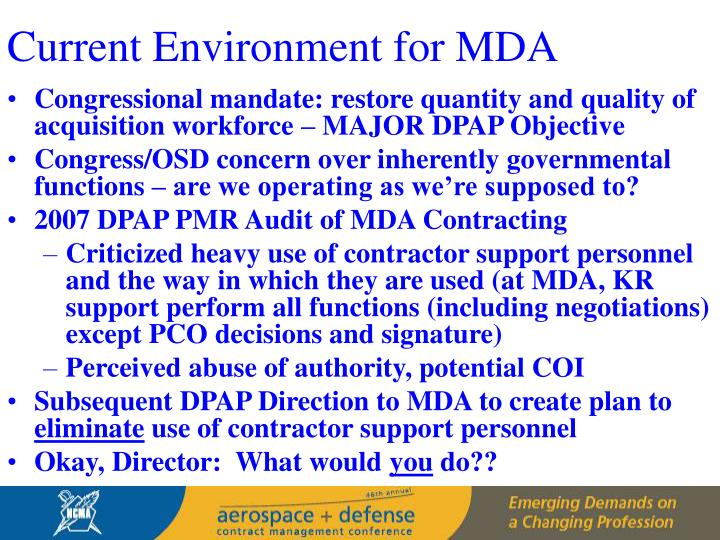 Current Environment for MDA