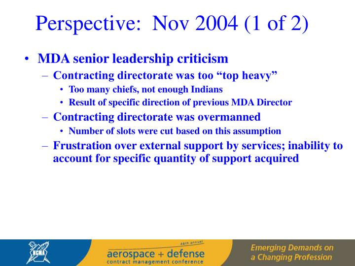 Perspective:  Nov 2004 (1 of 2)
