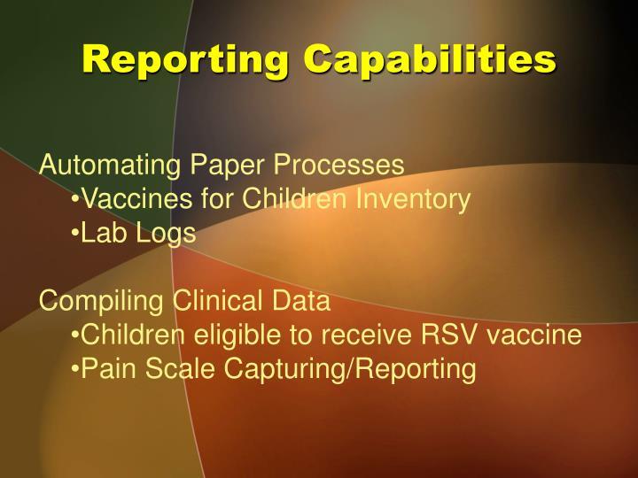 Reporting Capabilities