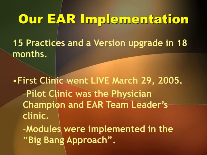 Our EAR Implementation