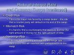 risks of interest rate and currency swaps continued