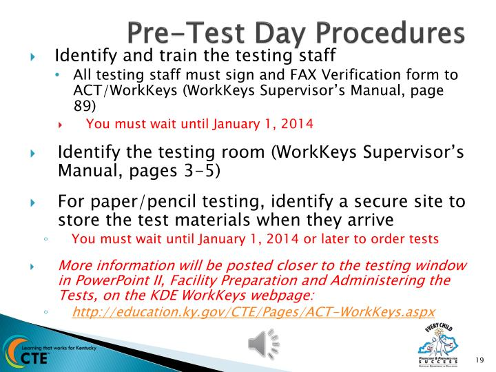Pre-Test Day Procedures