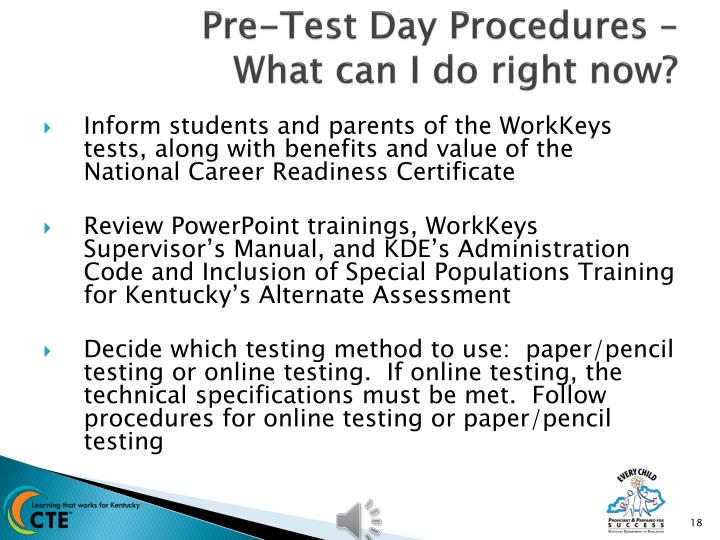 Pre-Test Day Procedures –