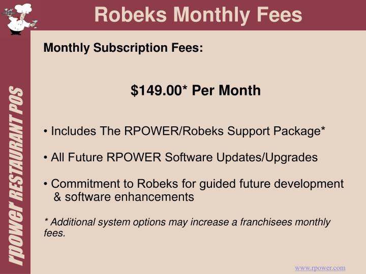 Monthly Subscription Fees: