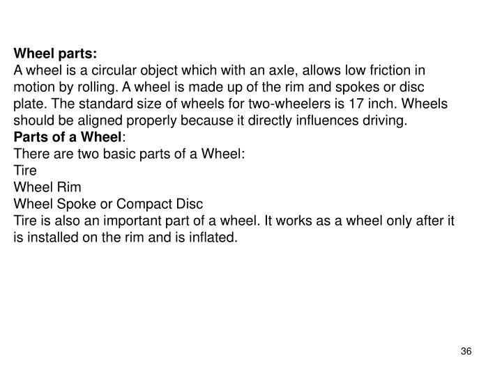 Wheel parts: