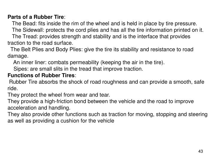 Parts of a Rubber Tire