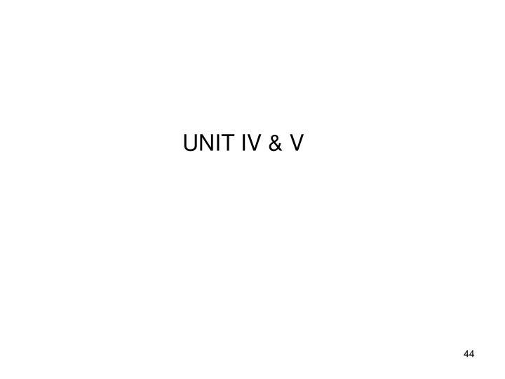 UNIT IV & V