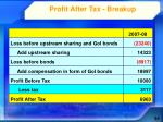 profit after tax breakup