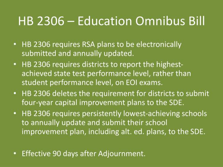 HB 2306 – Education Omnibus Bill
