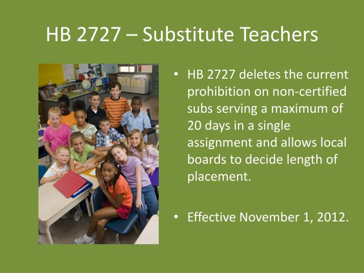 HB 2727 – Substitute Teachers