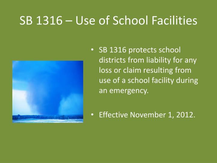SB 1316 – Use of School Facilities