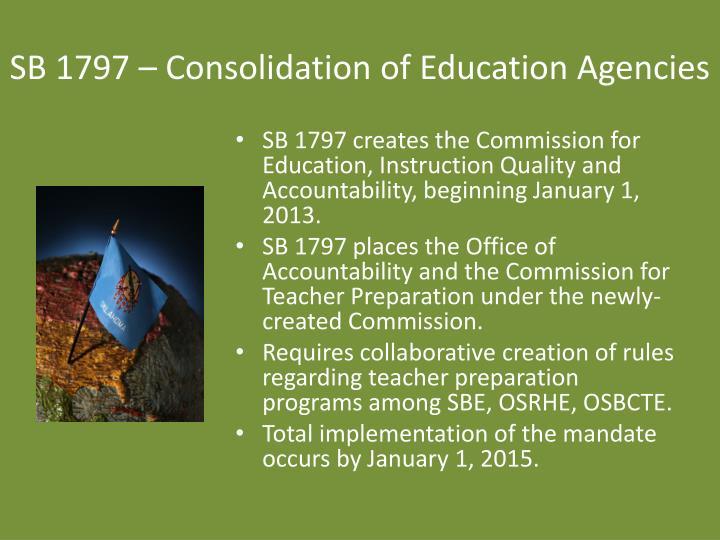 SB 1797 – Consolidation of Education Agencies