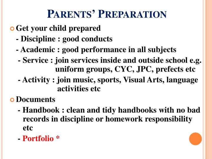 Parents' Preparation