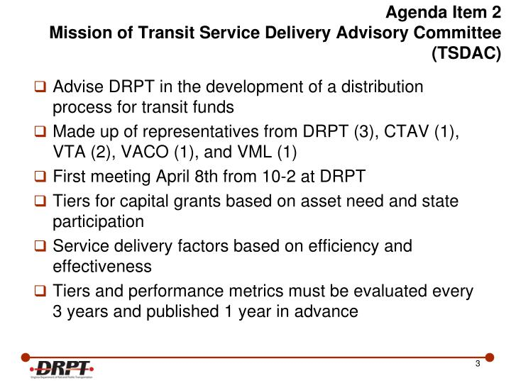 Agenda item 2 mission of transit service delivery advisory committee tsdac