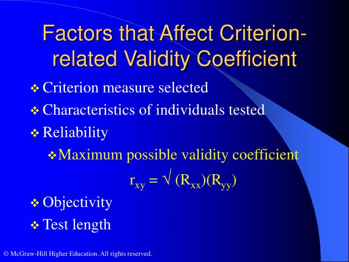 Factors that Affect Criterion-related Validity Coefficient
