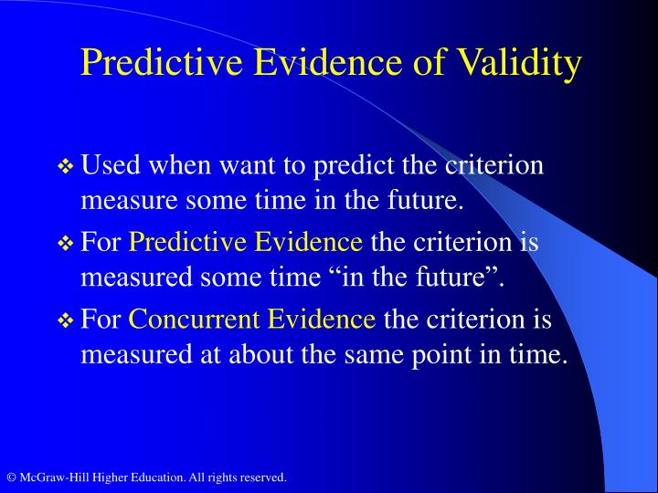 Predictive Evidence of Validity