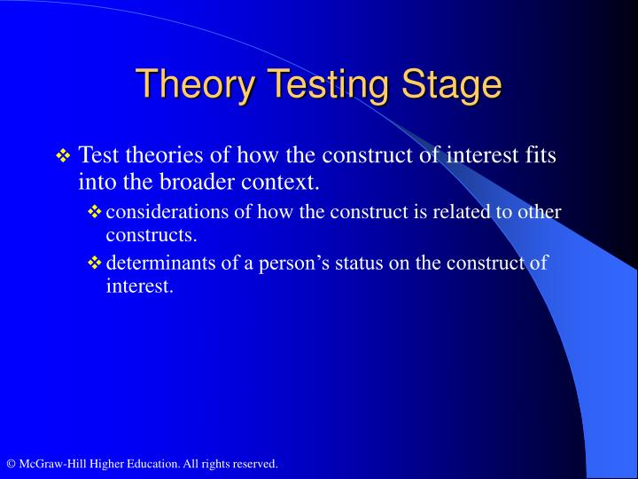 Theory Testing Stage