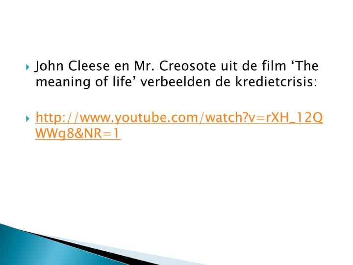 John Cleese en Mr. Creosote uit de film 'The meaning of life' verbeelden de kredietcrisis: