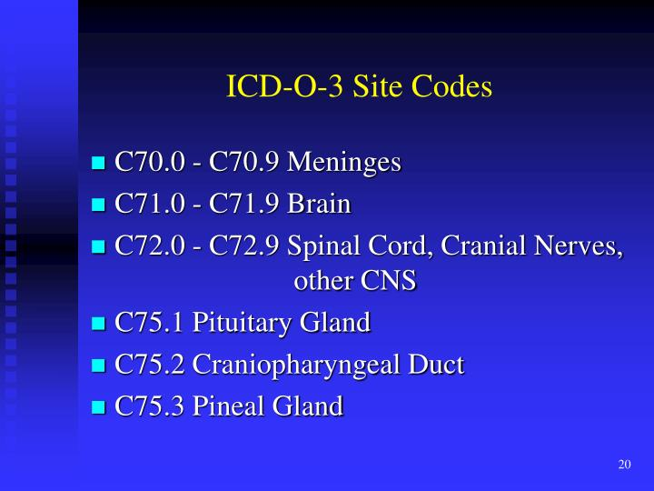 ICD-O-3 Site Codes