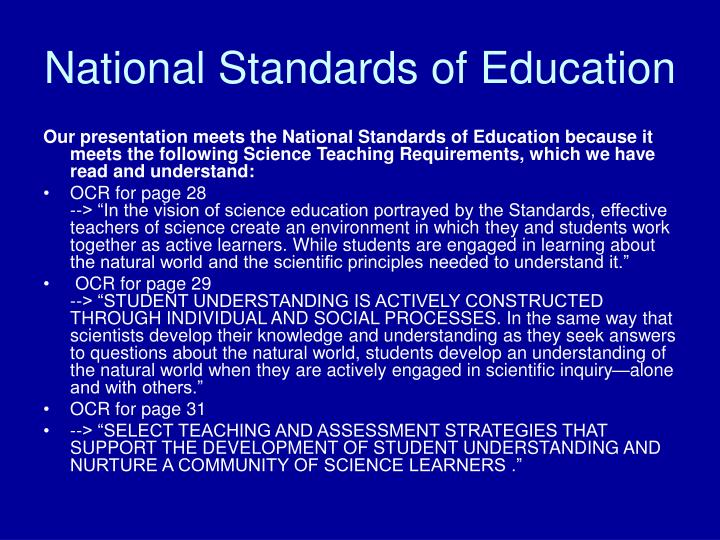 National Standards of Education