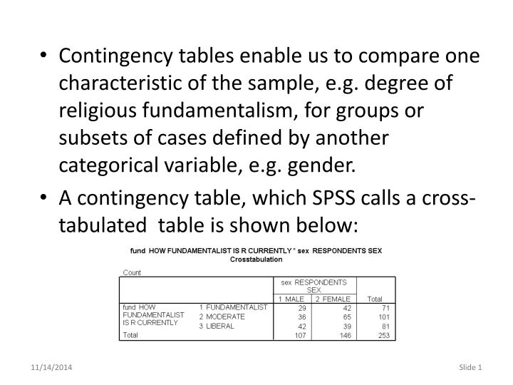Contingency tables enable us to compare one characteristic of the sample, e.g. degree of religious f...