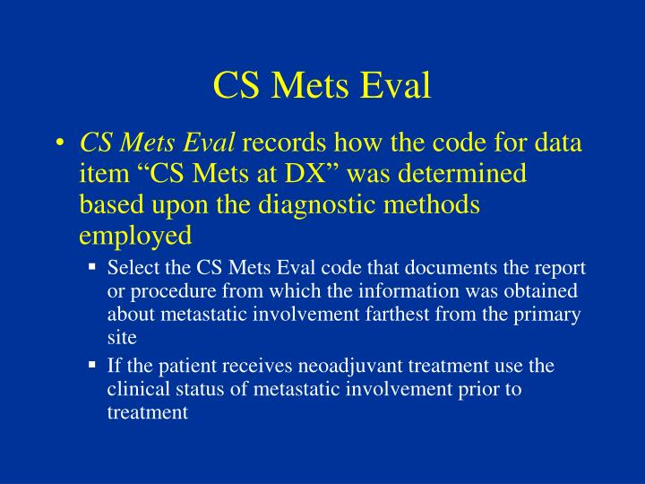 CS Mets Eval