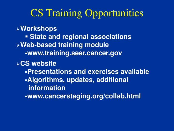 CS Training Opportunities