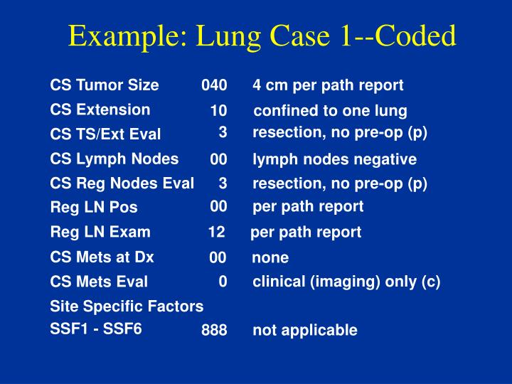 Example: Lung Case 1--Coded