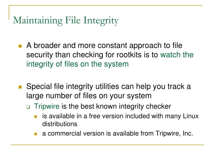 Maintaining File Integrity
