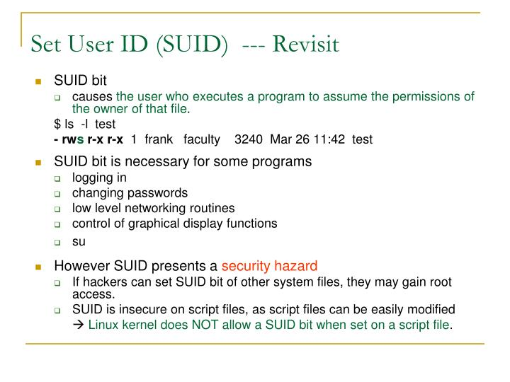 Set User ID (SUID)  --- Revisit
