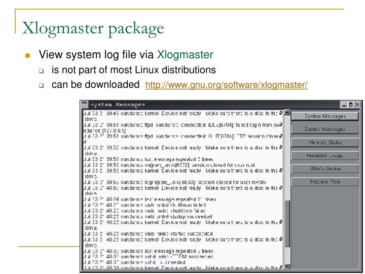Xlogmaster package