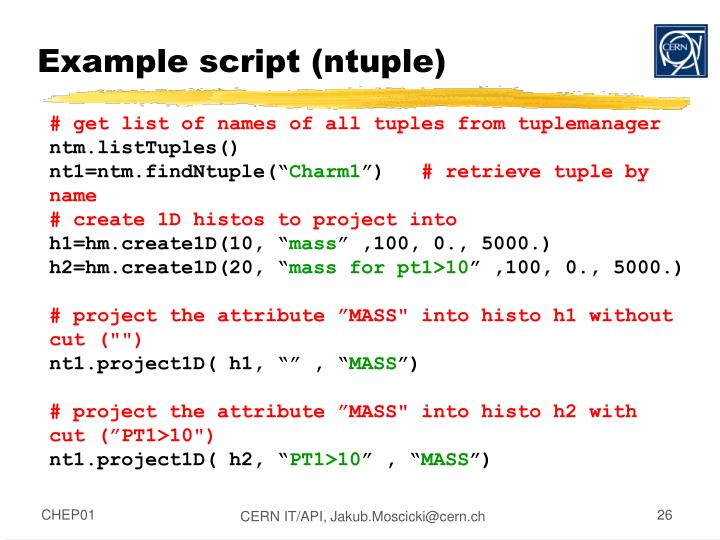 Example script (ntuple)