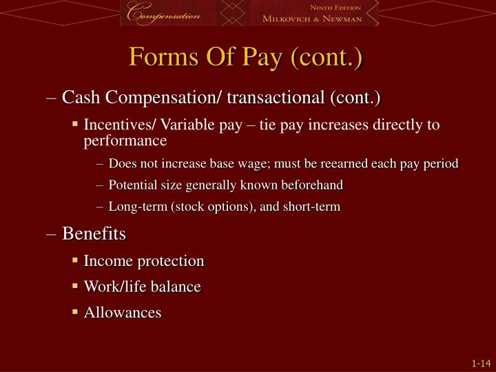 Forms Of Pay (cont.)