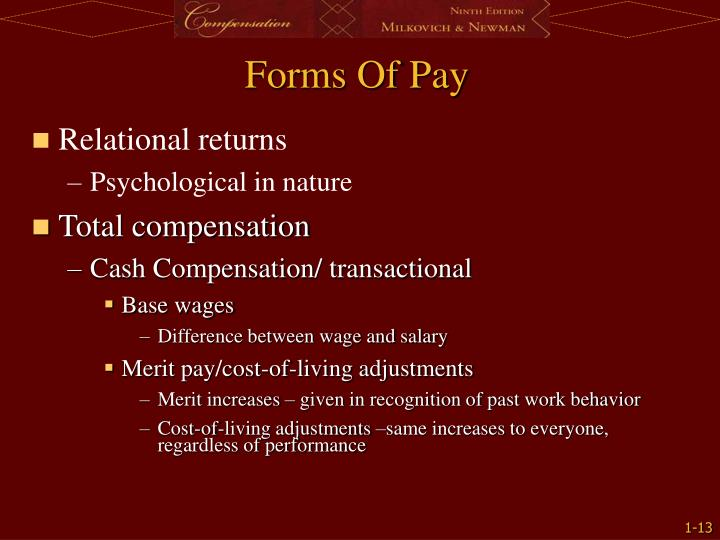 Forms Of Pay