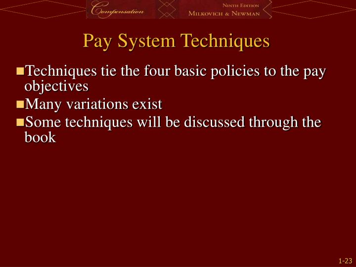 Techniques tie the four basic policies to the pay objectives