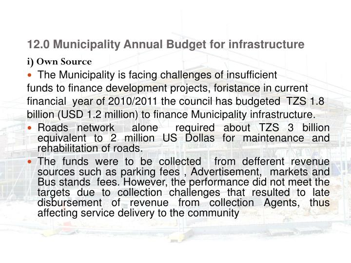 12.0 Municipality Annual Budget for infrastructure