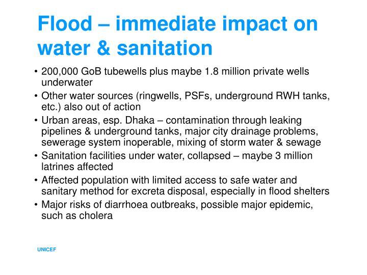 Flood immediate impact on water sanitation