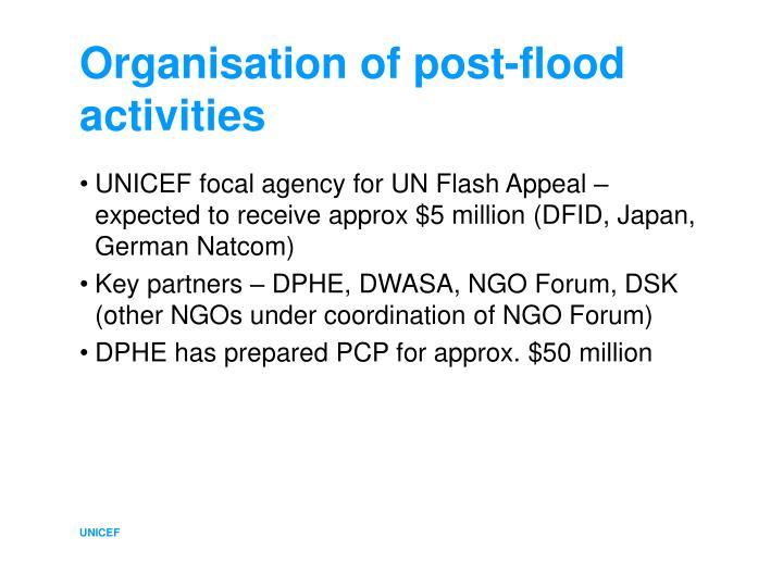 Organisation of post-flood activities