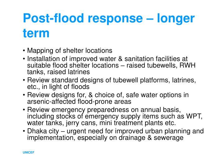 Post-flood response – longer term