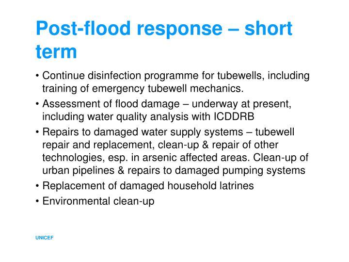 Post-flood response – short term